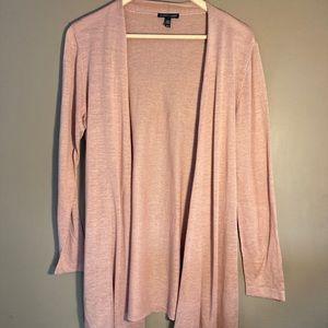 Eileen Fisher pink silk linen open cardigan